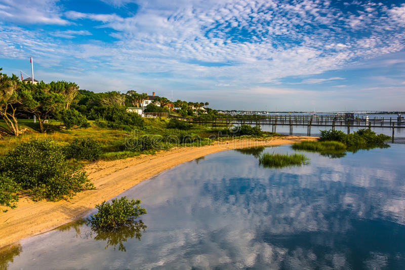 Morning reflections at Salt Run, in St. Augustine Beach, Florida stock photo
