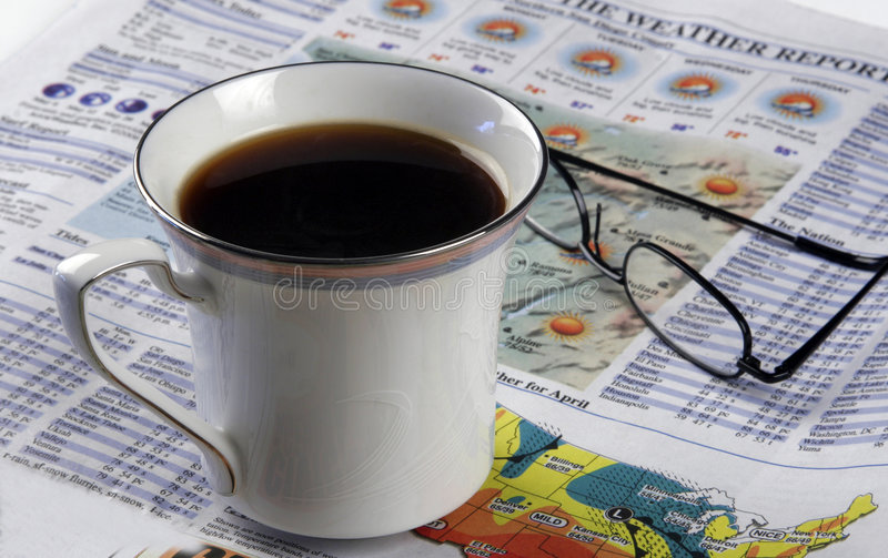 Morning Rituals - Hot Coffee And A Newspaper stock photography