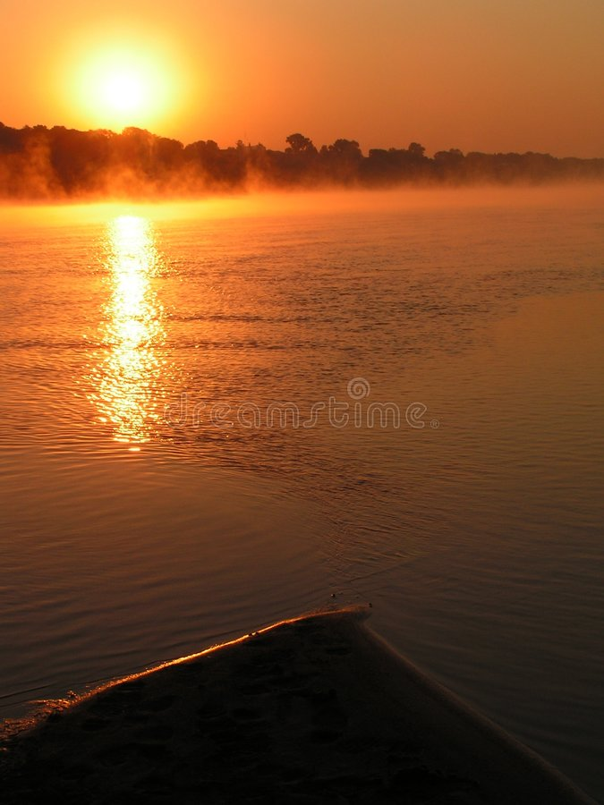Morning on the river. stock photography