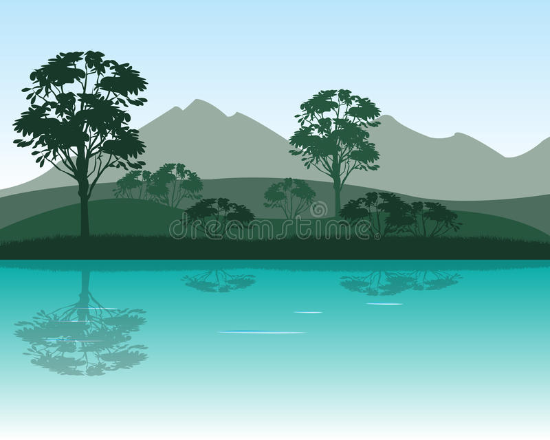 Morning on river stock illustration