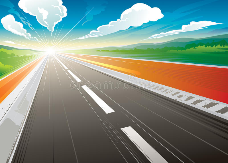 Morning at Road. Road speed landscape in the morning. illustration layered stock illustration