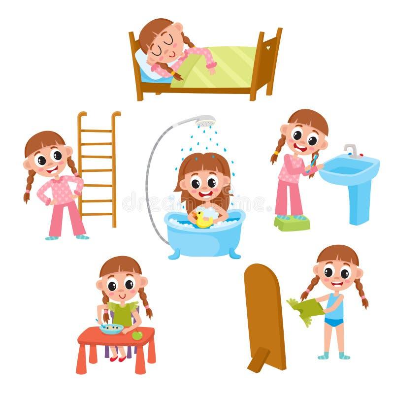 Daily morning routine set, cartoon little girl. Daily morning routine, little girl sleeping, washing, eating, dressing, doing exercises, brushing teeth, cartoon royalty free illustration