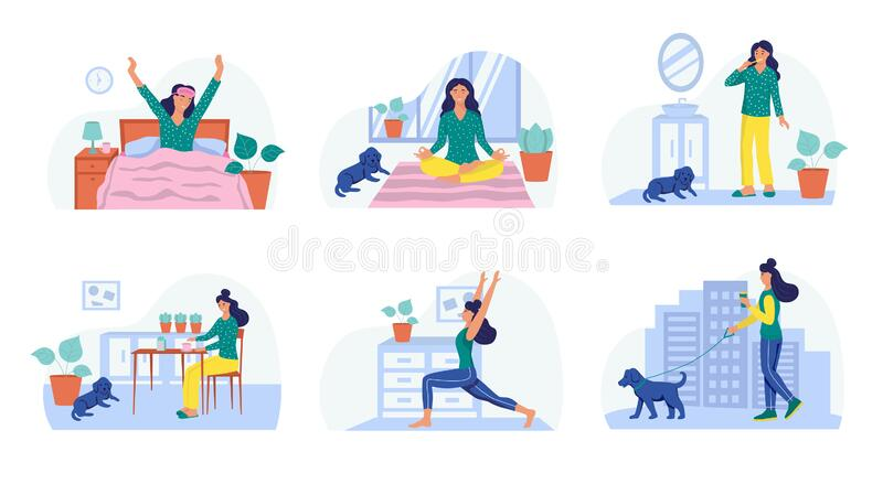 Morning Routine Concept Of Daily Life Stock Vector Illustration Of Colorful Illustration 188359977