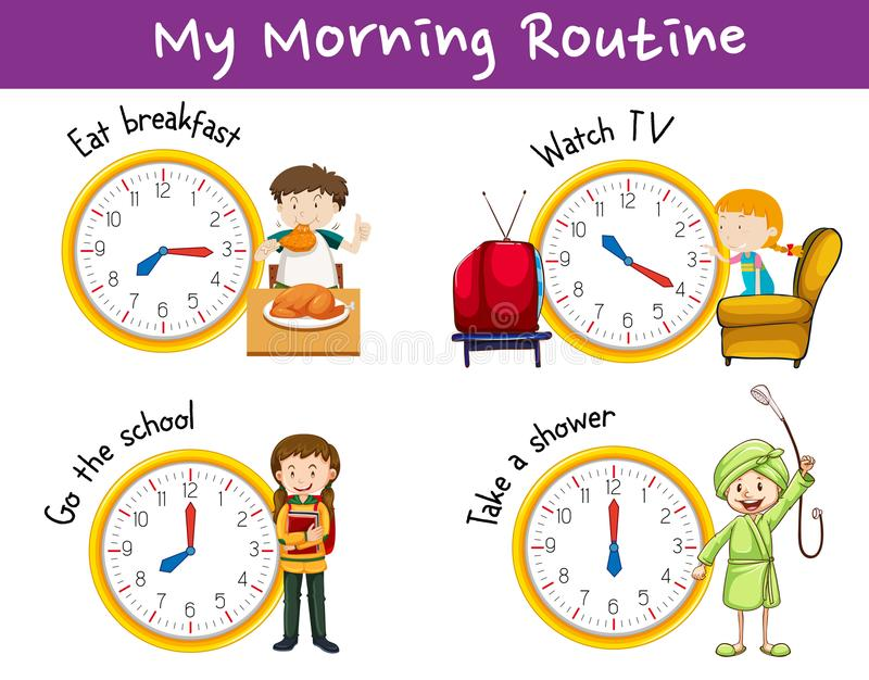 Morning routines for children with clock and activities vector illustration