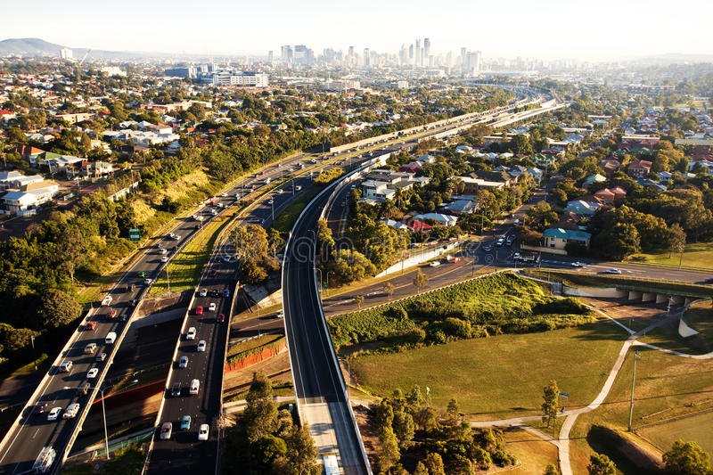 Download Morning Rush Hour From Above In Brisbane Stock Image - Image: 9401201