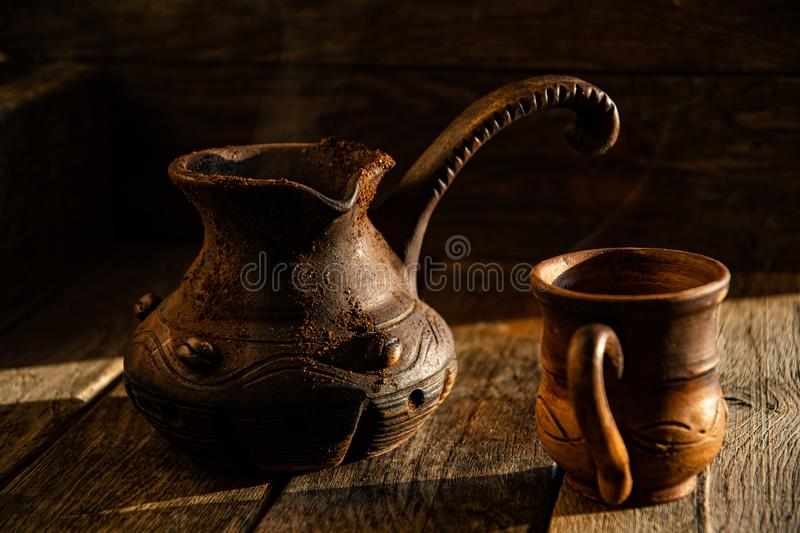 Morning rustic, Turkish, Mexican coffee in ceramic folk dishes. stock image