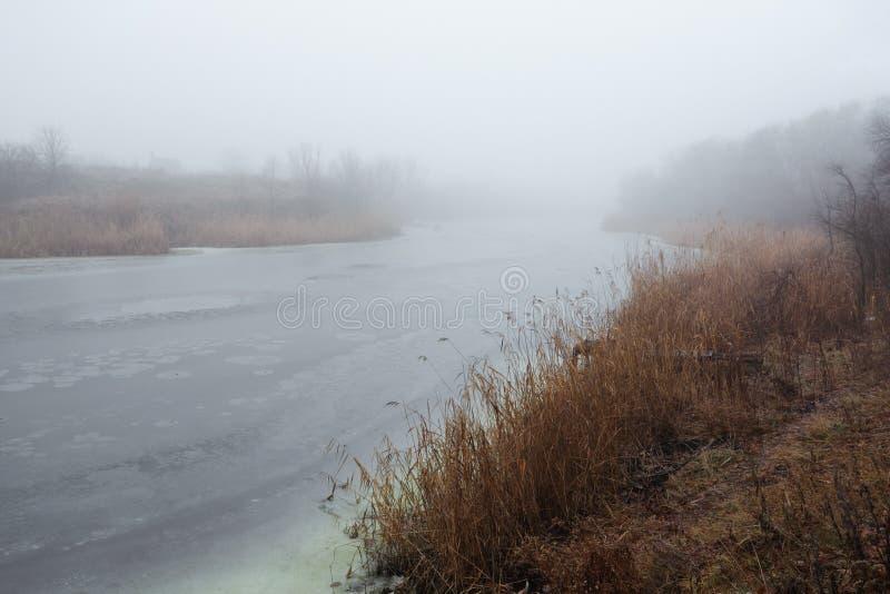 Morning's fog. Beauty morning's fog over the mystic river stock photo