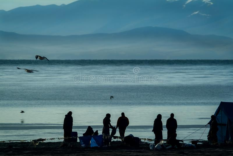 Morning scene of pilgrims campsite on northern bank of Lake Manasarovar, stock photos
