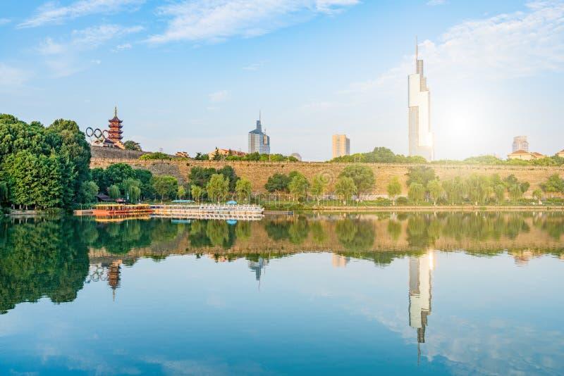 Morning Scenery of Ming City Wall of Xuanwu Lake in Nanjing, Jiangsu Province, China stock photos