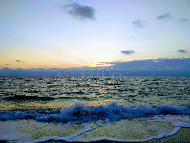 Dawn at the Sea, Odessa. Morning at sea, a great time, the sun rises and a new day begins royalty free stock photography
