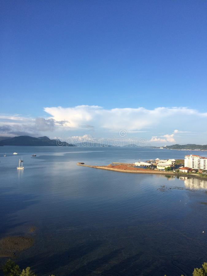 Morning sea landscape at Langkawi Island with blue sky background stock photos