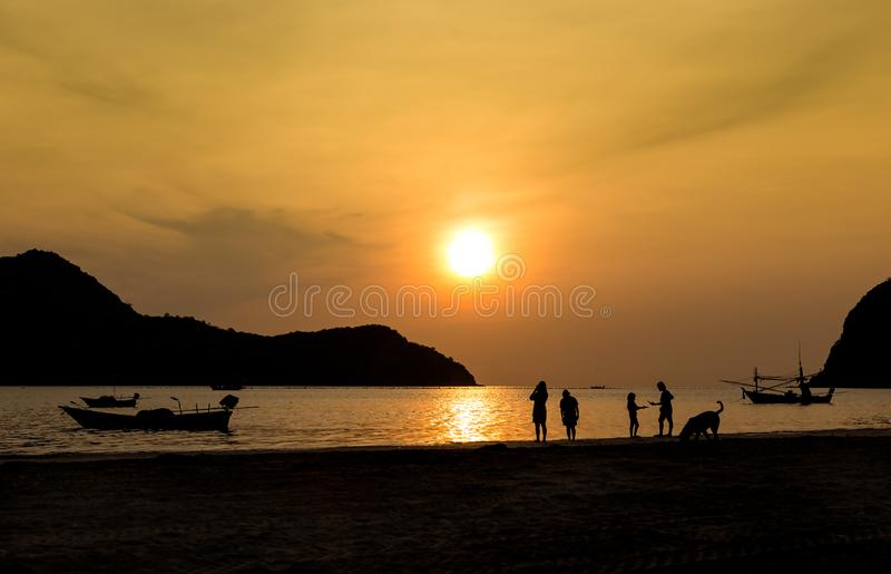 Morning sea view in Prachuap Khiri Khan,Thailand,silhouette and sunrise,landmarks, travel for background stock image