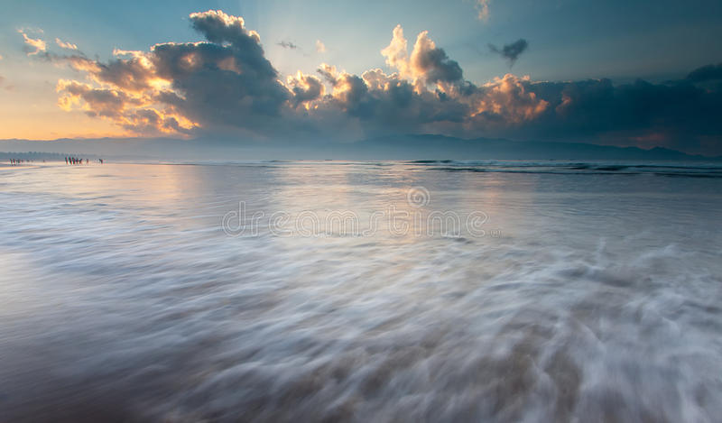 Download Morning At The Sea, Waves, And Sky Stock Photo - Image of coast, boat: 24730634