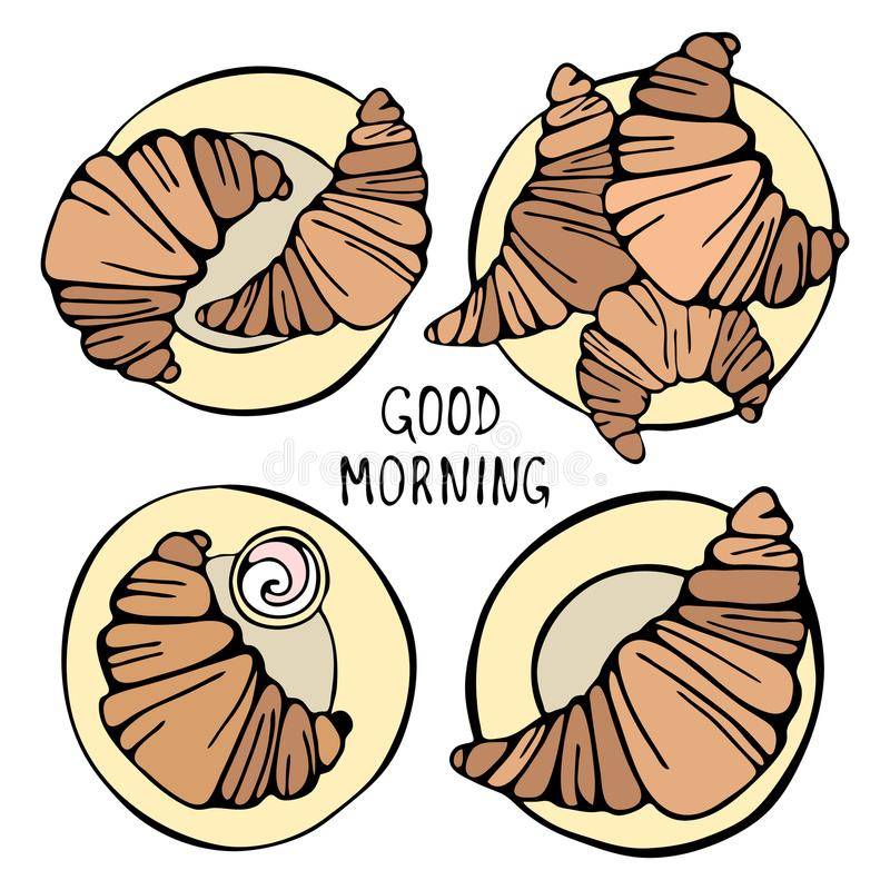 Morning set of croissants in the style of craft. vector illustration