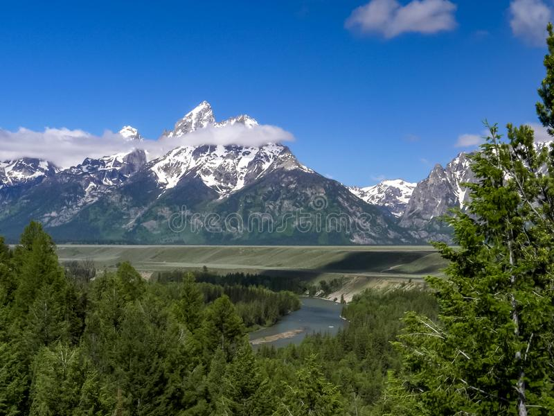 A morning shot grand teton from snake river overlook. In grand teton national park in the united states royalty free stock photo