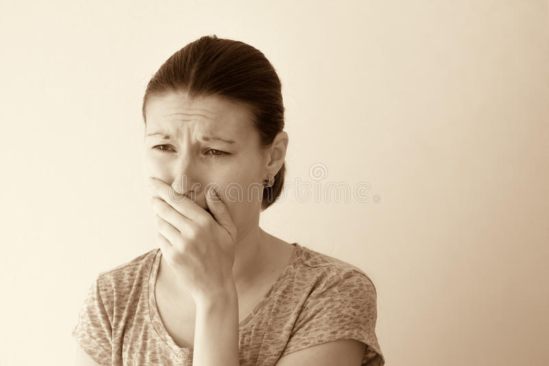 Morning sickness nausea. Young woman feel morning sickness nausea, toxicosis of pregnancy stock photo