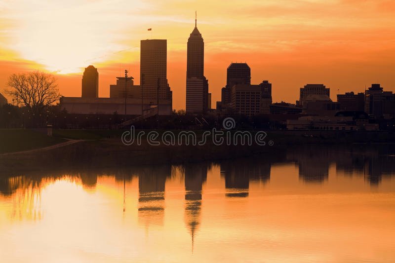 Morning silhouette of Indianapolis stock images