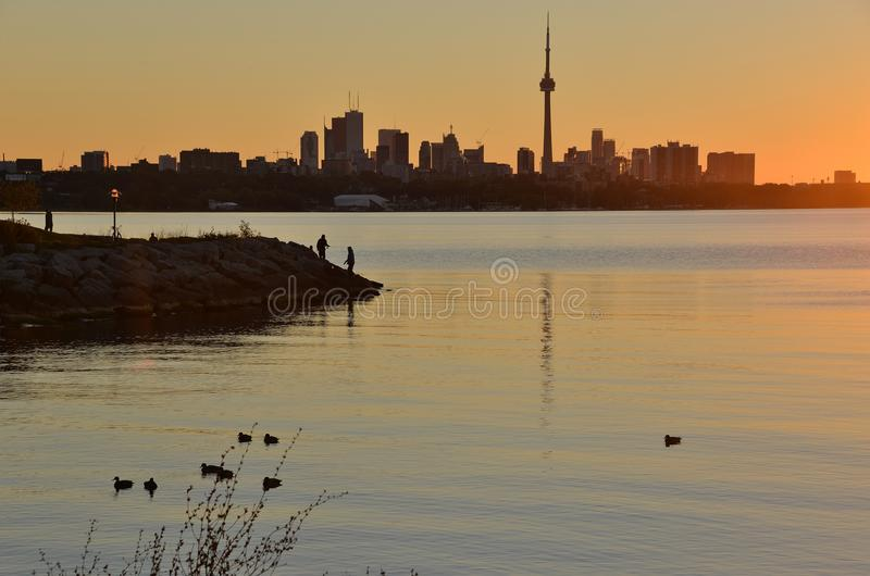 Morning silhouettes at dawn royalty free stock photography