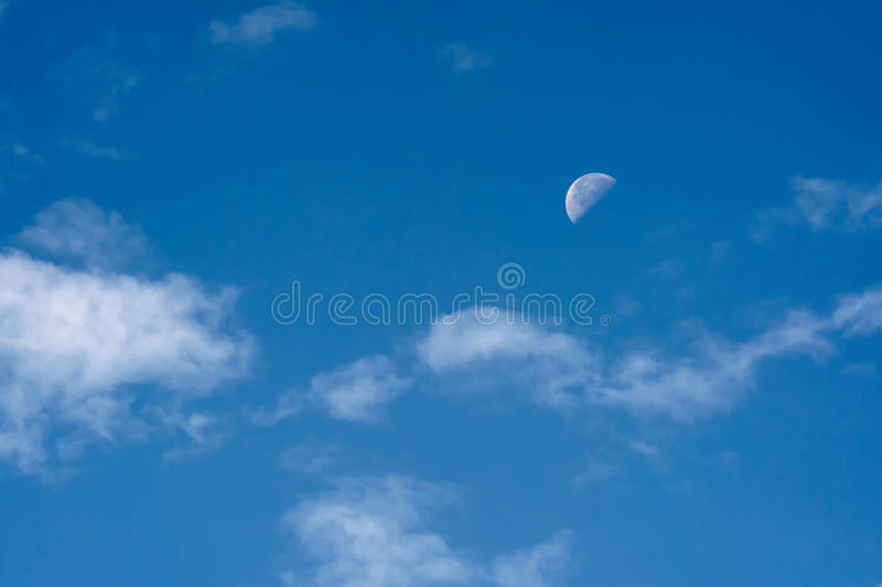 Download Morning Sky With The Half Moon And Clouds Stock Image - Image: 25222201