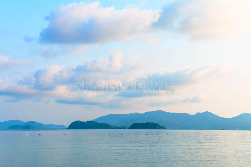 Morning sky and sea from the island in Gulf of Thailand royalty free stock image