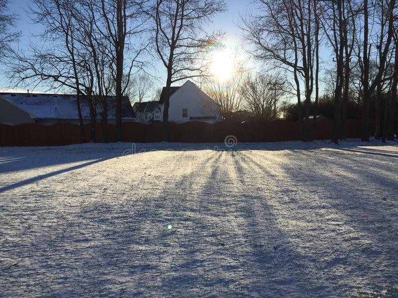 Morning Snow. An image of the sun reflecting on snow in the morning royalty free stock photo
