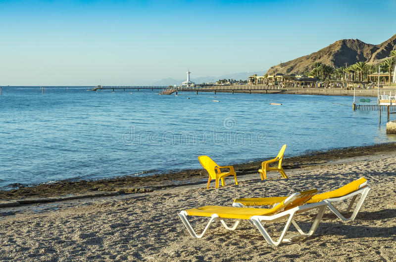 Morning at southern beach of Eilat. The photo was taken at southern beach of Eilat - famous resort and recreational city in Israel stock photography