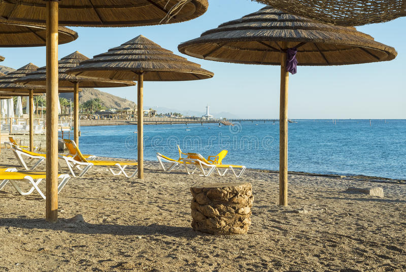 Morning at southern beach of Eilat. The photo was taken at southern beach of Eilat - famous resort and recreational city in Israel royalty free stock photography