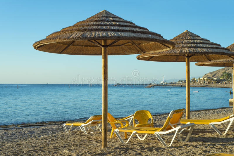 Morning at southern beach of Eilat. The photo was taken at southern beach of Eilat - famous resort and recreational city in Israel stock photo