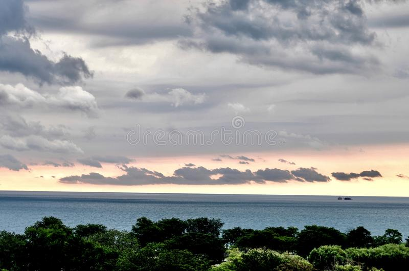 Morning Storm Clouds Over Lake Michigan stock photography