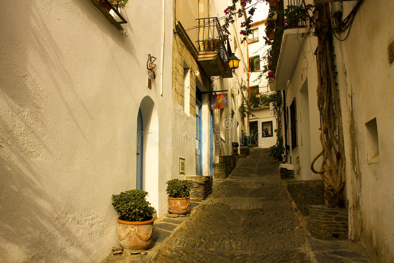 Morning, street of Cadaques, Costa Brava stock photo