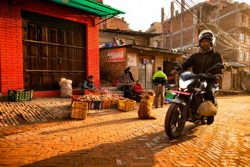 Morning Street w Bhaktapur, Nepal obraz royalty free