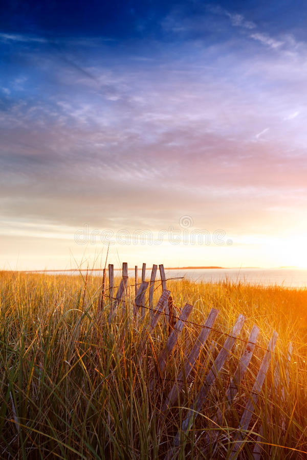 Free Morning Sun On Old Fence And Dunes Royalty Free Stock Photos - 21234658