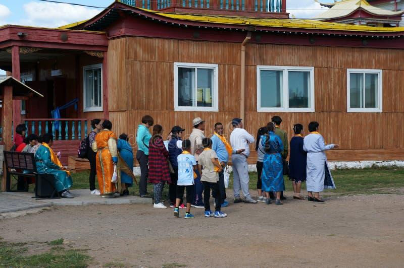 Morning sun prayer. art gallery Ulan-Ude Ivolginsky Datsan. Hambo Lama Itigelov. royalty free stock image