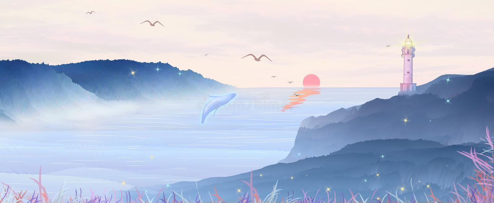 The morning sun rises from the sea. The lighthouse on the mountain shines on the distant ship, the whale is flapping the spray. What a beautiful and fascinating stock illustration