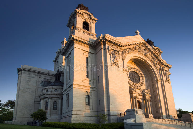 Morning sun on Saint Paul's Cathedral. Saint Paul, Minnesota, USA. Early morning sun on Saint Paul's Cathedral. Saint Paul, Minnesota, USA stock photo