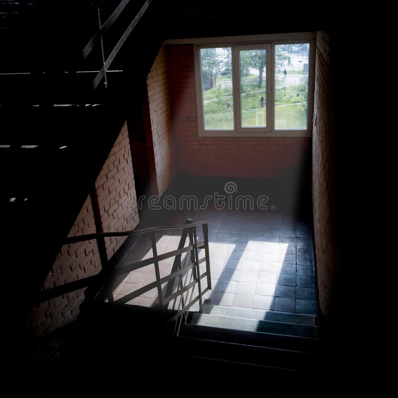 Morning sun in the stairwell stock photos