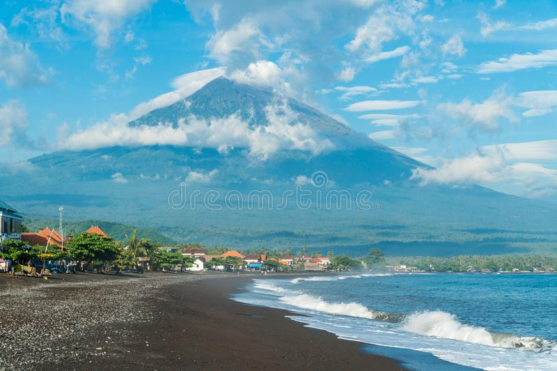 Morning sunny view on Agung volcano from the coast in Amed, Bali,  Indonesia royalty free stock photos