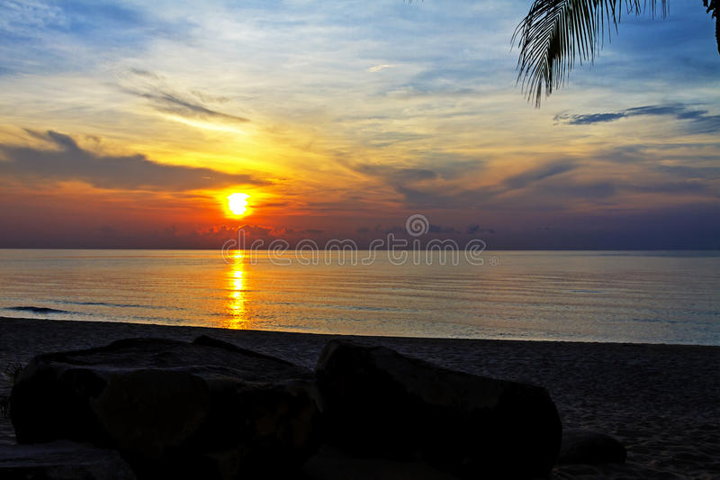 Morning sunrise. At Ban Krut Beach, Prachuap Khirikhun Province Thailand stock image