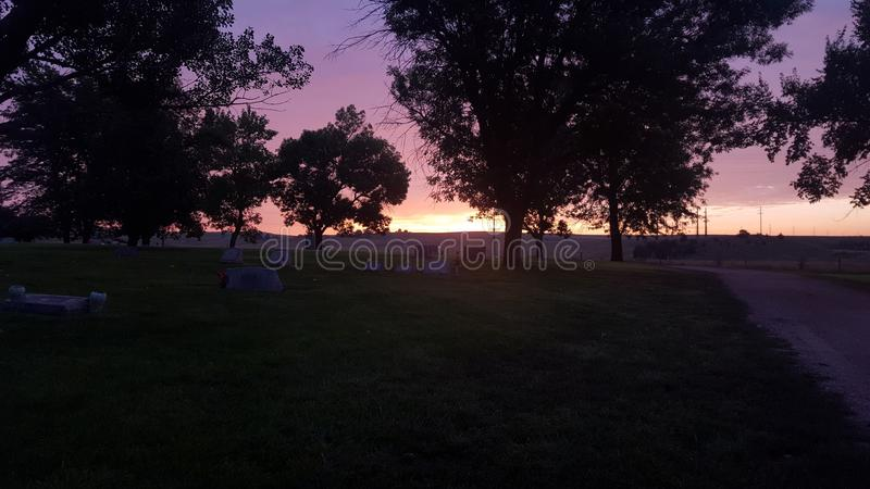 Morning Sunrise in cemetery. stock images