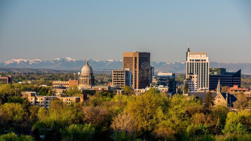 Morning sunrise on the city of Boise Idaho royalty free stock photo