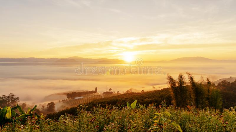 Morning sunrise clouds and fog over mountain at Yun Lai Viewpoint Pai Mae Hong Son province Thailand stock photo