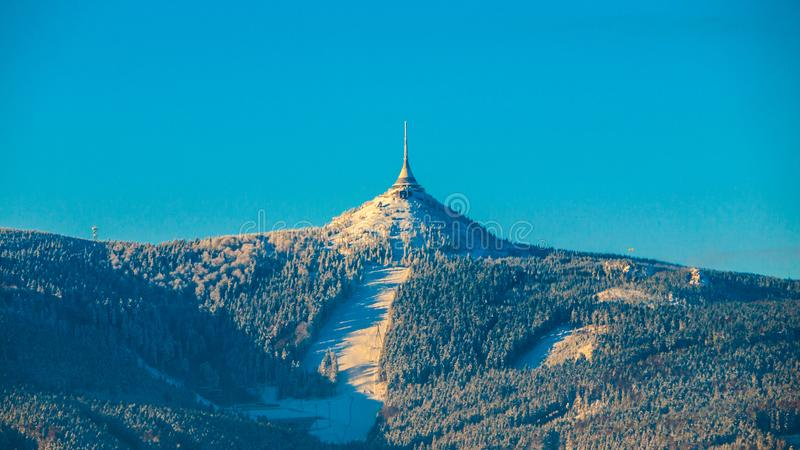 Morning sunrise at Jested Mountain and Jested Ski Resort. Winter time mood. Liberec, Czech Republic.  stock images
