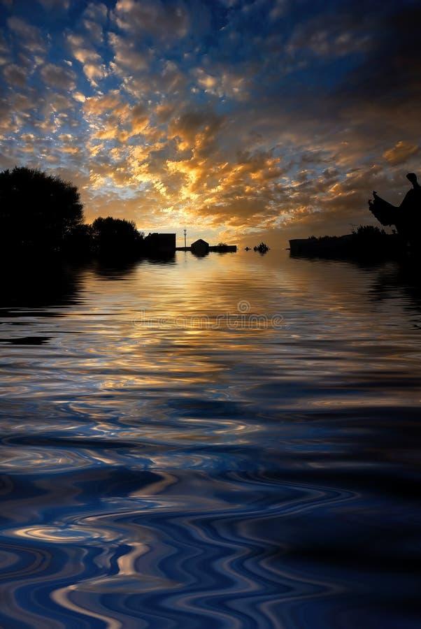 Morning sunrise reflected water stock photo