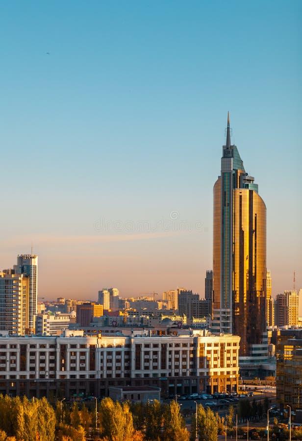 05.10.2011 Transport Tower at the morning sunrise, Nur-Sultan  Astana, Kazakhstan stock photography