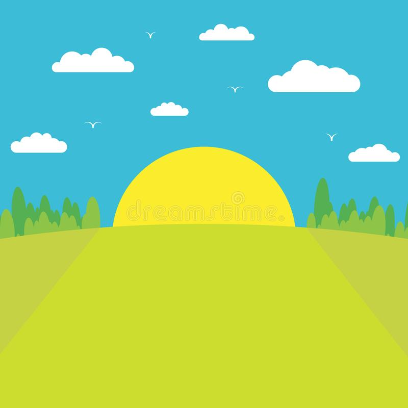 Morning sunrise. The sun rises from behind the forest against a blue sky with clouds and birds. stock illustration