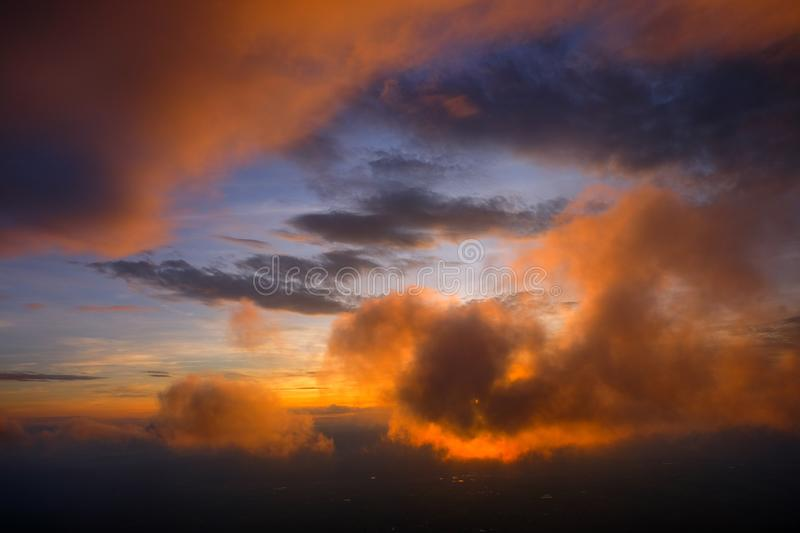 Morning sunrise view There was a cloud of sun-shading clouds at Phu Thap Boek. Phetchabun royalty free stock photo