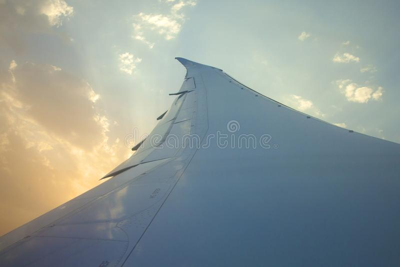 Morning sunrise with Wing of an airplane. Photo applied to tourism operators. picture for add text message or frame website. Trave stock images