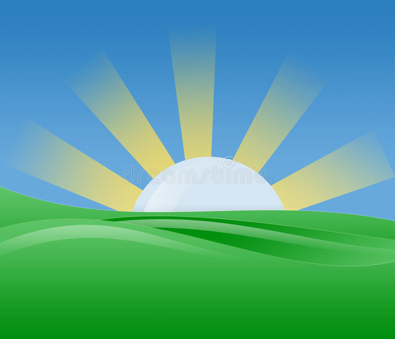 Morning Sunshine Illustration. Morning sun with bright light shine with blue sky green landscape stock illustration