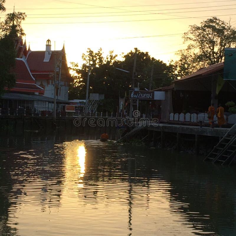 Morning sunshine life amphawa stock image