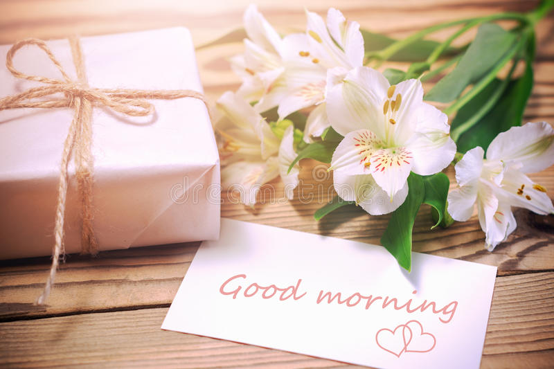 Morning surprise flowers and gift box stock image image of card download morning surprise flowers and gift box stock image image of card mother negle Choice Image